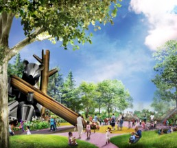 Detroit Riverfront Conservancy's renderings of Ralph C. Wilson, Jr. Centennial Park five-acre playground