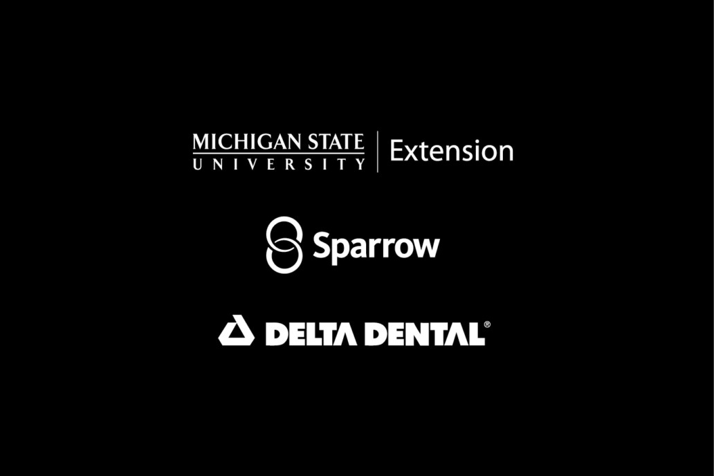 Delta Dental, Sparrow Health, and Michigan State University Exertion Logos on black background.
